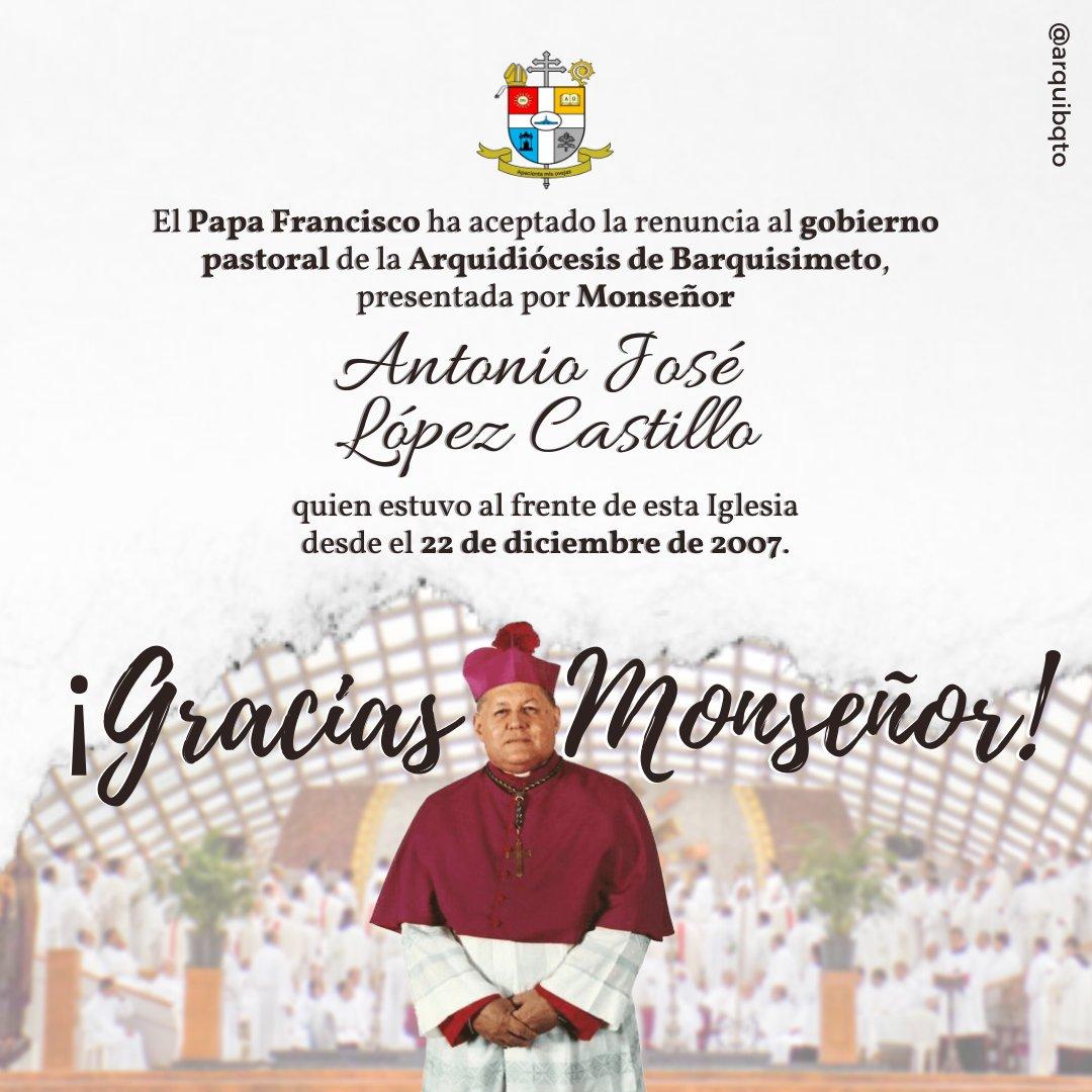 Papa Francisco aceptó renuncia de Mons. Antonio López Castillo