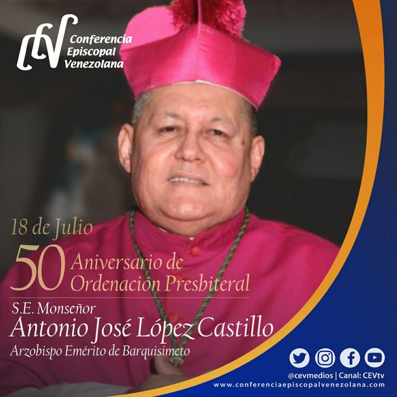 50 aniversario de la Ordenación Sacerdotal de Mons. Antonio José López Castillo