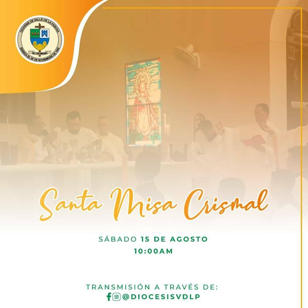 Diócesis de Valle de la Pascua celebrará Misa Crismal