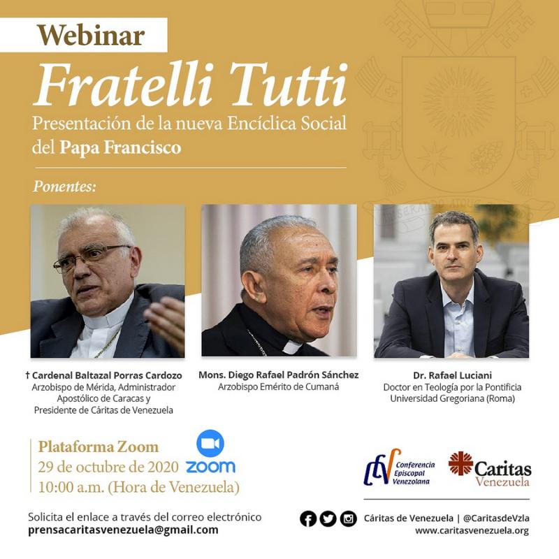 "Cáritas de Venezuela realizará Webinar ""Fratelli Tutti"""