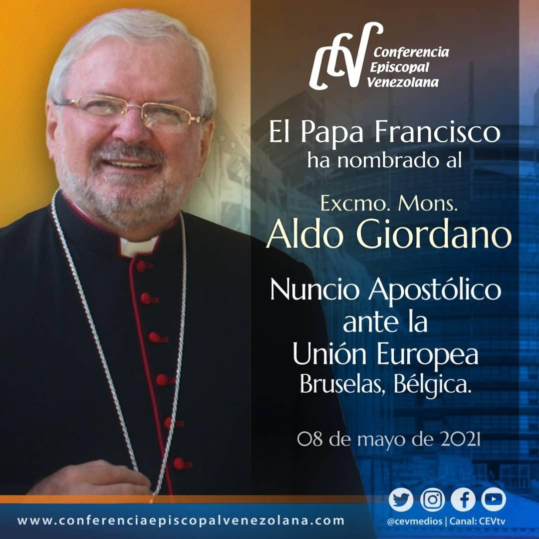 Papa Francisco nombra a Mons. Aldo Giordano Nuncio Apostólico ante la Unión Europea en Bruselas-Bélgica