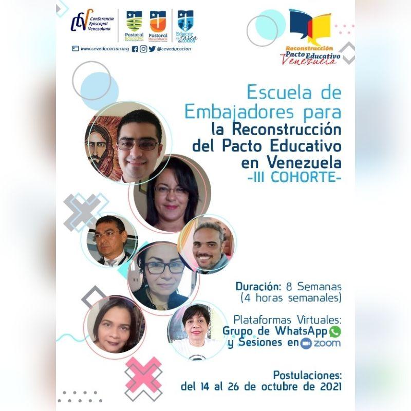 Departamento de Educación convoca a la III cohorte de la Escuela de Embajadores para la Reconstrucción del Pacto Educativo en Venezuela